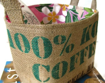 MTO. Special Occasion Gift Basket. Coffee Lover. Repurposed Kona Coffee Bag - Large. Handmade in HI.