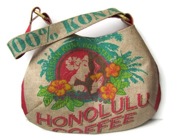 Honolulu Coffee Island Girl Burlap Hobo Handbag. Repurposed Coffee Bag. Handmade in Hawaii.