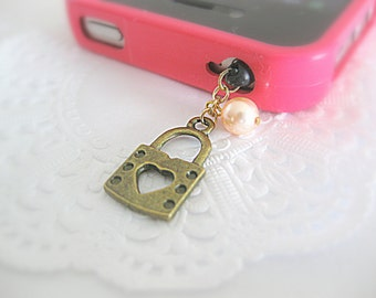 Cute and dainty lock charm accessory for iphone or smartphone. iphone lock charm. Simple holiday gift. Gift under 10