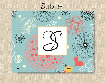 Personalized Folded Note Cards - Personalized Stationery  Set of 16 - Subtle