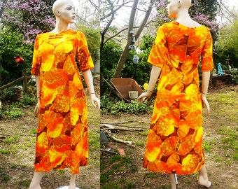Sale 30% OFF 60s Maxi Dress, 60s Dress, 60s Costume, Hawaiian Dress, Vintage Tropical Dress, Vintage Dress by Garment Factory Size 6-8
