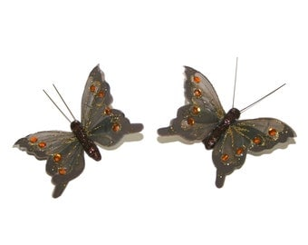 2 Large Grey Fiery Jewel Butterflies for Hair Pins, Favors, Wedding Cakes