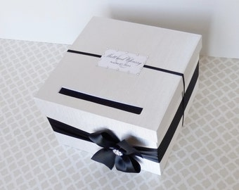 Custom Made Wedding Card Box Black White Money Holder