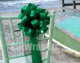 """Emerald Green Wedding Pull Pew Bows with Tulle Tails Decorations - 8"""" Wide, Set of 10"""