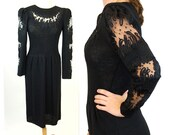 Vintage Pat Sandler Wellmore SANTANA KNIT Dress, 1980s black knit dress, ribbon embroidery, sweater dress, Size S