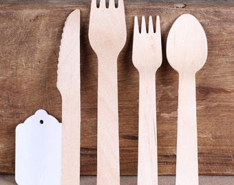 Plain Wooden Utensils, Plain Wooden Cutlery, Wooden Spoons, Wooden Forks, Wooden Knives, Disposable Utensils (18 ct) PICK YOUR UTENSIL