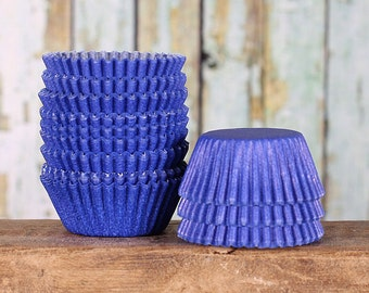 Mini Blue Cupcake Liners, Mini Royal Blue Paper Cupcake Liners, Mini Wedding Cupcake Liners, Candy Cups, Mini Treat Cups (100 count)
