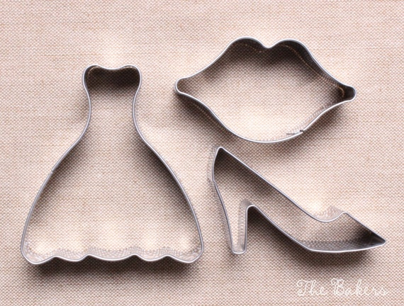 Wedding cookie cutter set with dress shoe by for Wedding dress cookie cutters