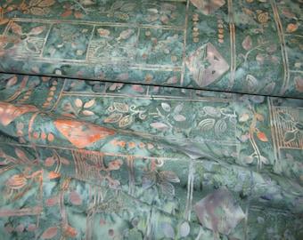 Teal and Salmon Bali Batik Fabric