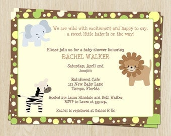 Jungle Animals Baby Shower Invitations, Green, Yellow, Dots, Set of 10 Printed Cards with Envelopes, FREE Ship, JNBGN, Jungle Babies Neutral