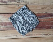 High Waisted Shorts -Baby Toddler Girls Bloomers Shorties - Classic - Fall Winter- Black and White Thin Stripes - Top to Match