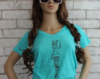 Ladies Roller Derby T Shirt, Rollergirl, Light Turquoise,  Graphic Tee, Women, Pin Up,  Cotton V Neck