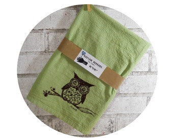 Owl On a Branch Cotton Tea Towel or Dish Towel in Apple Green or custom colors excellent housewarming gift or wedding gift