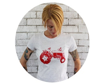 Tractor Tshirt, Ladies Fitted Cotton Graphic Tee, Super Soft Cotton Tee Shirt, Farming, Farm Fresh, Red and Oatmeal Cream, Hand Printed