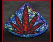 Quarter Round Blue with Red Pot Leaf Zipper Pouch