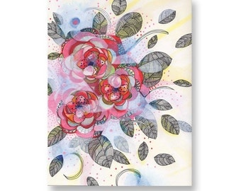 Original Vibrant Flower Plant Mixed Media Painting, Copic Marker Illustration, Ink, Acrylic, 9''x12'', Cold Press Paper