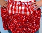 Red Gingham Vintage-Style Pocket Apron