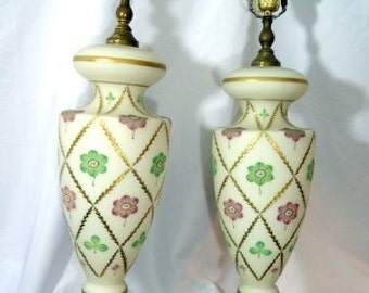 1940s Beautiful Frosted Glass Pastel and Gold Regency Lamps