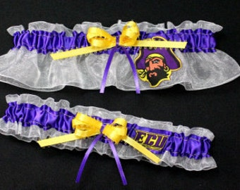 East Carolina Pirates Wedding Garter Set, Handmade, Can Be Personalized