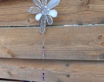Stained Glass Flower - Suncatcher - Clear - White - Prism