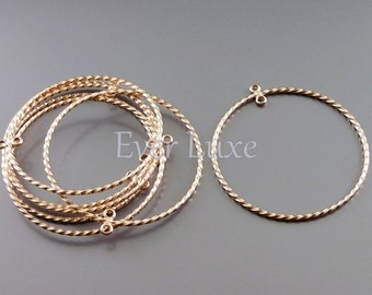 2 MATTE rose gold abstract rope textured circle hoop pendant 906-MRG