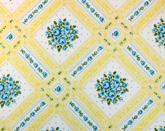 flowering lattice in yellow & turquoise, a vintage sheet fat quarter