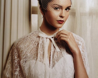 Ava Ivory Lace CAPE with Velvet Bow & Swarovski Crystals : BRIDE WEDDING, Great Gatsby, hollywood Glamour