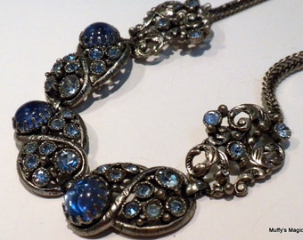 SALE Vintage Selro Blue Rhinestone Necklace with Lucite Cabochons