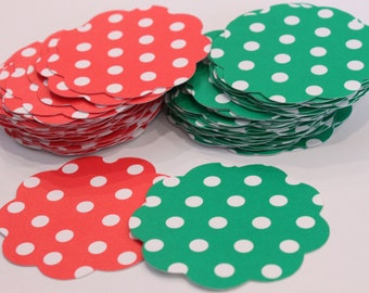 50 Scallop Tags Christmas Red & Green Polka Dot Gift Tag 2.5 inch READY TO SHIP Scrapbooking Journaling Spots Topper Thank you Card Stock