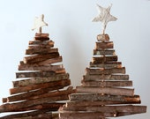 Rustic Christmas trees / set of 2 / table top trees made from branches / tree with concrete star / rustic decor / woodland home decor