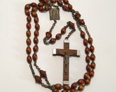 Vintage Wooden Bead Rosary Lourdes France