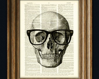 Skull with Black Hipster Glasses over an upcycled dictionary page book art print