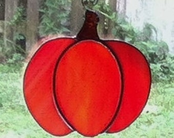 Cute Original Orange Stained Glass Fall Pumpkin Suncatcher
