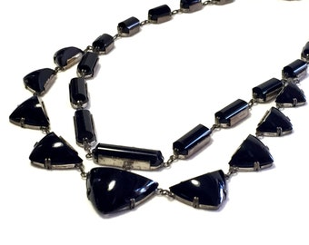 Rare Stunning Art Deco Sterling Silver Black Onyx Glass Geometric Vintage Art Deco Necklace