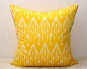 20x20, yellow ikat, ikat pillow cover, yellow cushion, yellow pillow case, yellow pillow, ikat