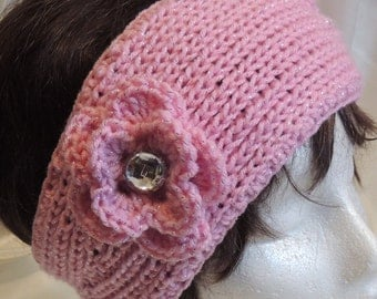 CLEARANCE SALE! Pink Sparkling Headband With Sparkling Button Trimmed Flower