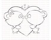 Panda Love Digital Stamp for Card Making