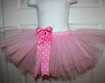 Birthday pink  tutu with polkadot bow 12m 18m 2t 3t 4t 5t Party costume
