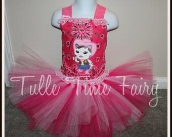 Sheriff Callie Cat Kitty birthday corset  tutu dress any size 12m 18m 2t 3t 4t 5t 6 7 8 pink tutu