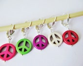 Removable Stitch Markers Peace Sign for Crochet and Knitting