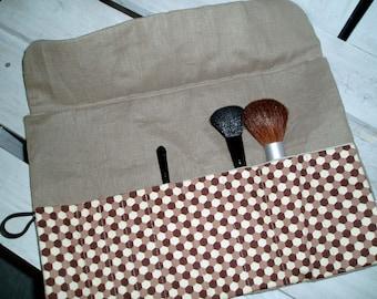 Brown Hexagon Khaki Linen  Make-up Brush Roll