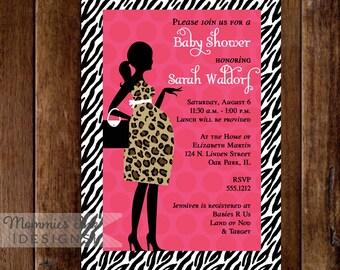 Animal Print Chic Mom to Be - You Pick Colors - Custom Baby Shower Invite - PRINTABLE INVITATION DESIGN