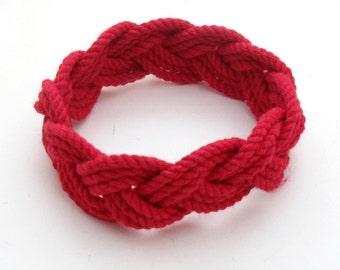 Turk's Head Sailor Knot Bracelet in Red Cotton