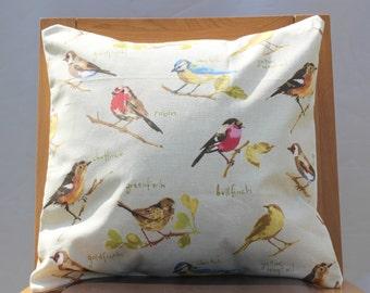 Pillow birds british UK garden decorative cushion 16 x 16 red yellow orange blue cream beige backround blue tit robin bull finch gold finch