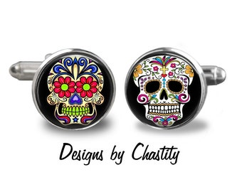 Day of the Dead Cufflinks - Sugar Skulls - dia de los muertos - Mix and Match