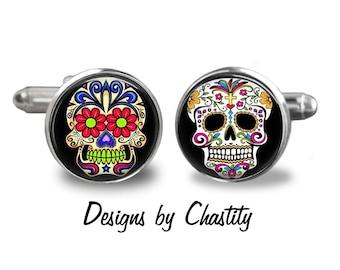 Day of the Dead Cufflinks - Sugar Skulls - dia de los muertos - Mix and Match
