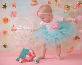 Baby Girls Birthday Tutu Dress Outfit, Sweet Aqua and Pink Cake Smash Dress for Baby Girls 1st Birthday Photo Shoot