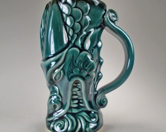 Dragon Head Beer Stein, A Firebreathing Dragon Mug in Mediterranean Blue- Handcrafted Stoneware Fantasy Art for Festivals, Gamers, Gift Idea