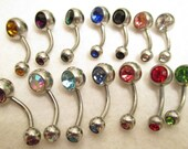 1 single Double Rhinestone Belly  Ring / Barbell - U pick a color