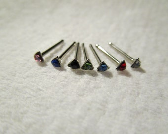 1 - Silver Tone Surgical Grade Stainless Steel rhinestone TRIANGLE Nose Studs